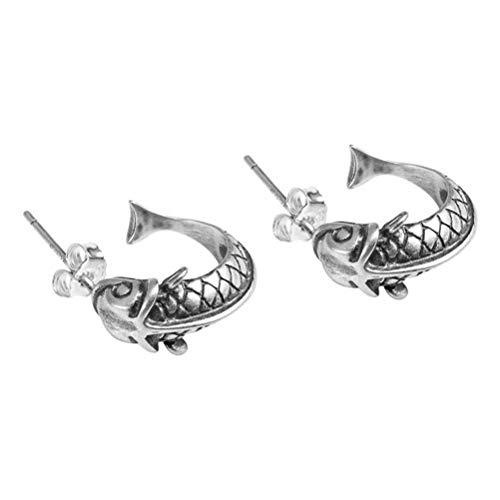WOZUIMEI Eardrop Earring S925 Silver Stud Earrings Women 's Retro Tempérament Chinese Style Court Earrings Old Carp SilverComme montré