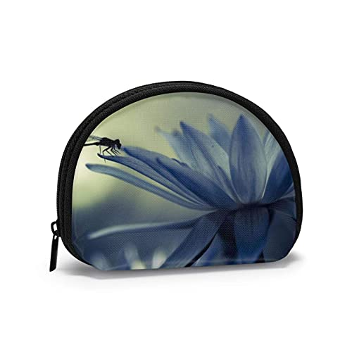 Dragoy White Petals - Bolsas de almacenamiento de cosméticos portátiles para mujeres y niñas, monedero pequeño, monedero, monedero