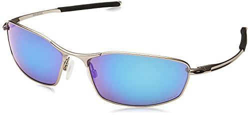 Oakley Men's OO4141 Whisker Sunglasses, Satin Chrome/Prizm Sapphire Polarized, 60 mm