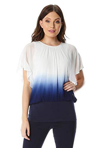 Roman Originals - Camiseta de manga 3/4 para mujer, cuello redondo, para fiesta, cócteles, cena de noche, cena o despedida de soltera, blusas de boda