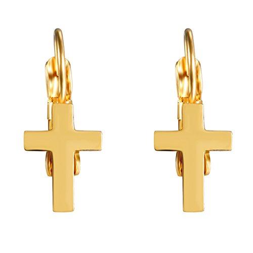 Jewelrywe Pendientes con Colgante de acero inoxidable color dorado cruz/Luna/flor hombre mujer