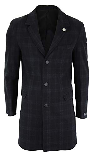 TruClothing.com Herrenjacke 3/4 Länge Crombie Mantel Peaky Blinders Design Slim Fit