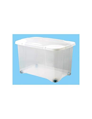 EDA PLASTIQUE Boîte de Rangement Clip'Box 40 L avec Roulette - Naturel Couvercle avec charniere - 54 x 36 x 33,7 cm