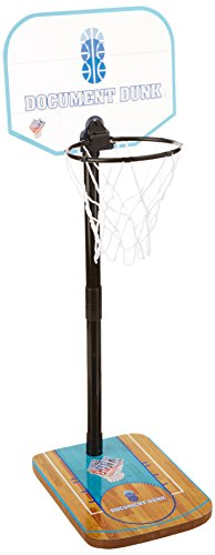 The Dunk Collection Document Dunk Mini Basketball Hoop for Trash Can - Brings Fun to Workspace and is Great Office Decoration for Men or Women- Stress Relieving Indoor Basketball Hoop Desk Toy for Bedroom, Office or Dorm, Blue, Black, Clear