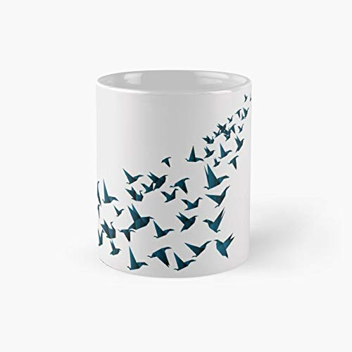 Vintage Japanese Origami Paper Bird Crane Classic Mug A - Novelty Ceramic Cups Inspirational Holiday Gifts For Men & Women, Him Or Her, Mom, Dad, Sister, Brother, Coworkers, Bestie.