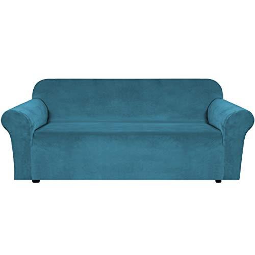 Home - Copridivano in velluto elasticizzato in peluche, 1 pezzo, Spandex Velluto, Blu pavone, 3 posti