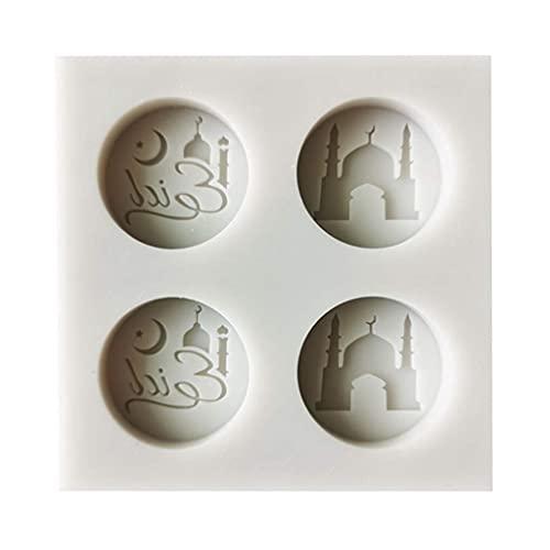 HJHQQ-CZYHG MILUE Eid Mubarak Fuentes árabe Pastel de Silicona Fondant Molde Galleta Chocolate Azúcar Artesanía (Color : 1)