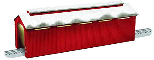 Lionel Electric O Gauge Model Train Accessories, Illuminated 24' Winter's Covered Bridge