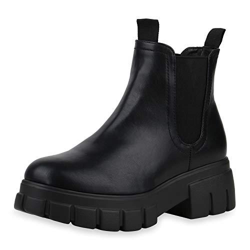 SCARPE VITA Damen Chelsea Boots Leicht Gefütterte Stiefeletten Plateau Vorne Blockabsatz Schuhe Profilsohle Freizeit Absatzschuhe 197218 Schwarz 38
