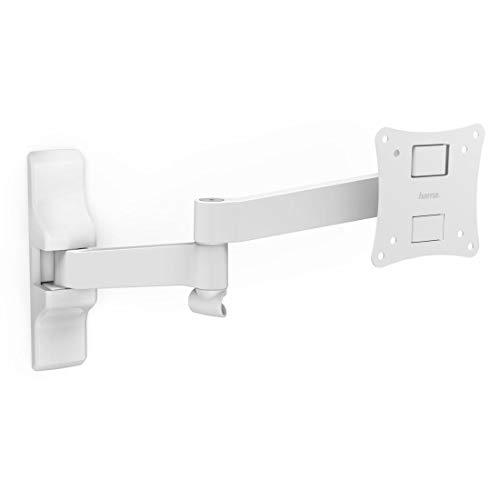Hama Monitor-/TV-Wandhalterung (Vollbewegliche Halterung 10-26 Zoll, Wandhalter für Monitor/Fernseher, VESA bis 100x100, Max. 25kg, inkl. Fischer Dübel) Weiß