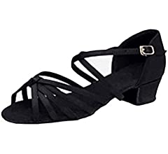 Fulision Girls Open Toe Solid Color Ankle Strap Low Heel Latin Dance Shoes