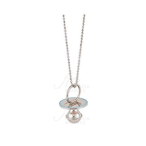 Halsketting voor dames Dolce Attesa fopspeen Chiama Angeli Silver nagellak lichtblauw zilver 925 Miss 3SPHVFM