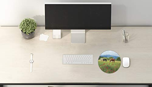Ambesonne Horses Mouse Pad, Various Kinds of Horses Eating Grass in Field Mountain Landscape Rural Scene Print, Rectangle Non-Slip Rubber Mousepad, Standard Size, Green Red Photo #2