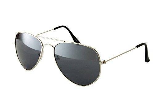 Ciffre Pilotenbrille Fliegerbrille Classic Look - Silber Dunkle Gläser Sonnenbrille Nerd Nerdbrille Brille