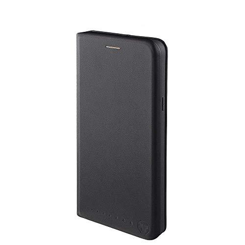Nouske Lederklapphülle für Samsung Galaxy S6 Edge Plus Hülle Tasche handgefertigt geschwungene Kanten mit Aufsteller und Kartenfach TPU Schutzhülle Cover Onyx Schwarz.