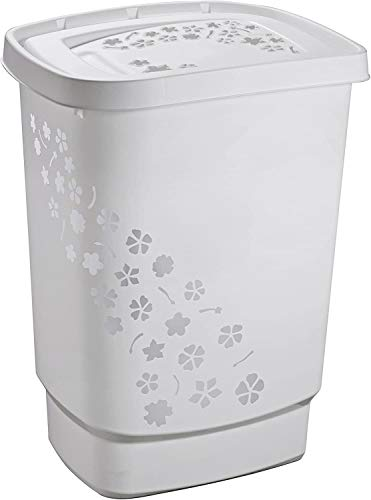 Rotho Flowers Wäschesammler 55l mit Deckel, Kunststoff (PP) BPA-frei, grau, 55l (44,7 x 34,7 x 60,5 cm)