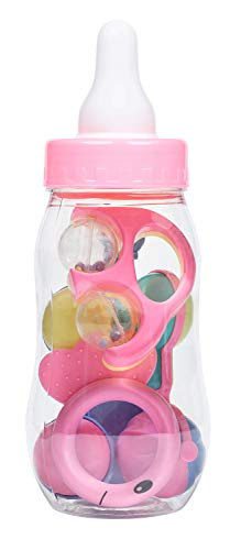 Jumbo Baby Bottle (11 in) for Baby Shower Games Baby Bottle Candy, Baby Piggy Bank, Baby Shower Centerpieces, Filled with Party Favors (Pink)