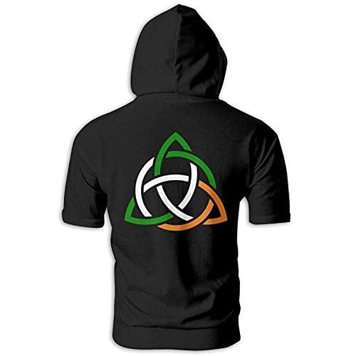 Celtic Knot Irish Men'S Athletic Short Sleeve Sport Hoody Shirt Slim Fit Sweater Black