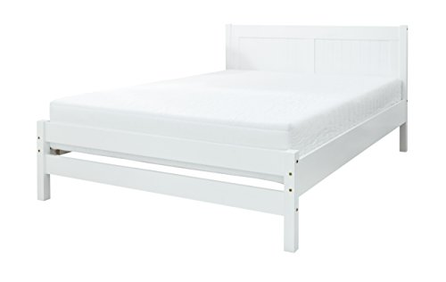 Humza Amani White Rio Bed and Reflex Foam Mattress (Wooden frame, reflex foam mattress, 3ft, 4ft, 4ft6, single, small double, double) (3FT - Single)