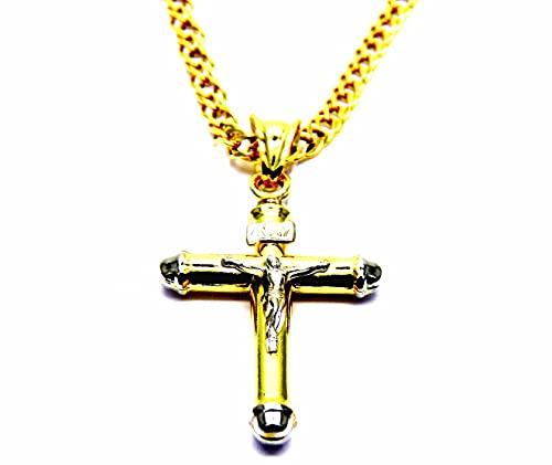 Collana da Uomo in Oro Giallo 18kt (750) Catena Rombo Cm 50 Pendente Croce Gesù Cristo Cappucci Bicolore