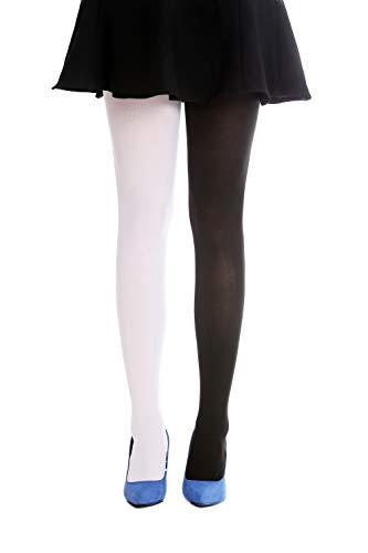DRESS ME UP - WZ-013BW-black-white Strumpfhose Pantyhose Damenkostüm Party Karneval Halloween schwarz weiß S/M