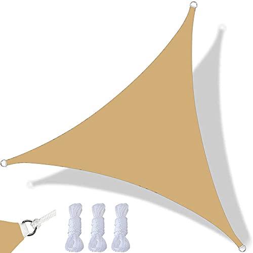 Toldo Vela De Sombra Triangular Impermeable Toldo con Protección UV, Tela Oxford Resistente, Utilizada para Fiestas En Terrazas En El Jardín Al Aire Libre, con Cuerda (5x5x7m,Amarillo Arena)