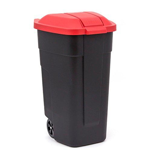 curver vuilnisbak met wielen vuilnisemmer afvalemmer vuilnisbak 110 L zwart/rood