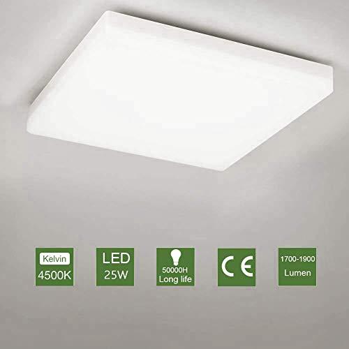 OOWOLF Led Lanpara De Techo, 25W Plafón LED Luz De Techo Impermeable...