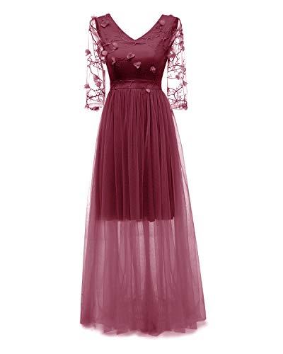 Bright Deer Damen Maxi-Abendkleid Besticktes Tüll-Ballkleid mit Blumenapplikation Langes Brautjungfernkleid mit Transparente Ärmel Elegante 38 M Rot