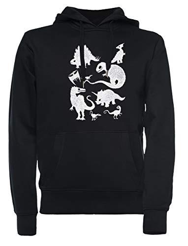 Rundi Silhouetted Dinosaurier Herren Damen Unisex Sweatshirt Jumper Schwarz Größe XXL - Women's Men's Unisex Sweatshirt Jumper Black