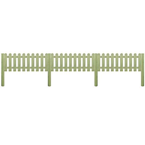vidaXL Bois de pin Imprégné Clôture à Piquets 5,1m 110cm Panneau Bordure Patio