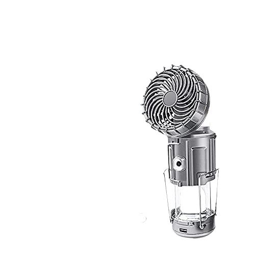 Plata, 1 PCS, 6 en 1 Linterna LED portátil para Acampar al Aire Libre con Ventilador, Lámpara de Ventilador eléctrico de elevación y Estiramiento Solar al Aire Libre, Accesorios para Acampar