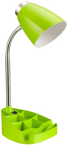 "Limelights LD1002-GRN Gooseneck Organizer Desk Lamp with iPad Stand or Book Holder, Neon Green, 15.35"" x 6.7"" x 4.57"""