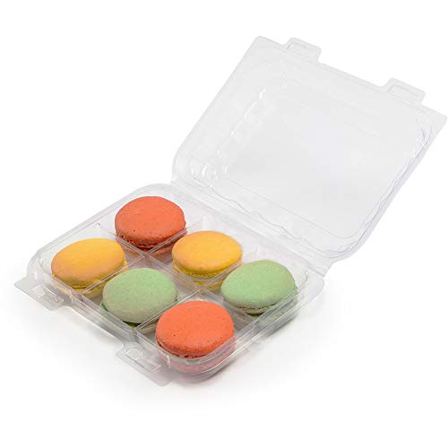 good natured 6 Compartment Treat Package - Clear Stackable Container Made from Certified Compostable Plant Based Material BPA Free (Pack of 250)