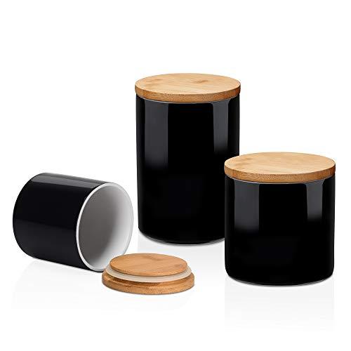 LOVECASA Vorratsdosen Set, Vorratsbehälter Porzellan mit Luftdichtem Verschluss Bambusdeckel, 3er Set, Schwarz