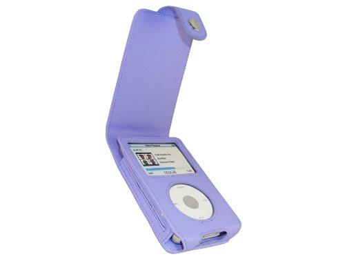 iGadgitz U0277 PU Leder Tasche Schutzhülle Etui Case Hülle und Display Schutzfolie Kompatibel mit Apple iPod Classic 80gb, 120gb und 160gb - Violett