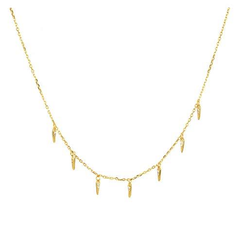 Wnkls 925 Sterling Gold Deja Cadena Gargantilla Collar Moda Cristal Roca Punk Joyas (Color : Gold)