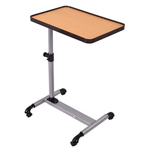 Costway Tavolino Porta PC Scrivania per Laptop Tavolo Laterale per Letto Divano con Ruote, Altezza e Inclinazione Regolabile