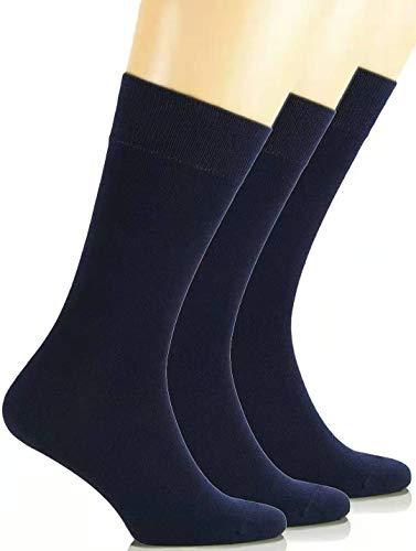 HaraDeco Pack 9 Pares Calcetines Escolar/Sport Corto Liso de Algodón para Uniformes y Deporte (Azul Marino, 35-38)