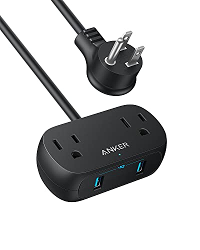 Anker Power Strip with USB PowerExtend USB 2 Mini, 2 Outlets, and 2 USB Ports, Flat Plug, 5 ft Extension Cord, Safety System for Travel, Desk, and Home Office (5ft, Black)