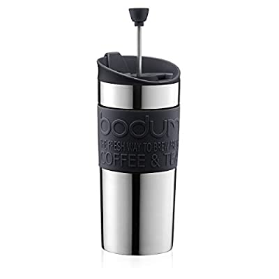 BODUM Travel French Press Coffee Maker, Vacuum, Small, 0.35 L - Black