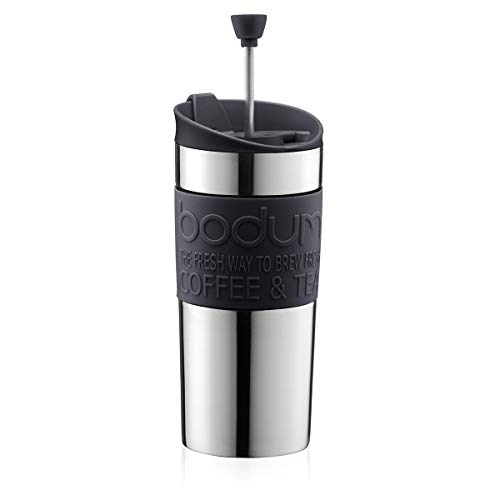 Bodum TRAVEL PRESS Kaffeebereiter (French Press System, Doppelwandig, 0,35 liters) schwarz