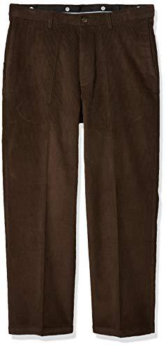 Haggar Men's 21 Wale Stretch Corduroy Expandable Waist Classic Fit Plain Front Pant, Brown, 34x34