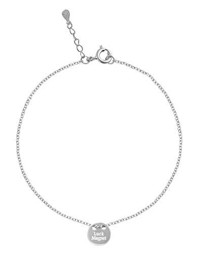 Pulsera para mujer de plata 925 Luck Magnet. Clásica plata de ley y amuleto de la suerte.