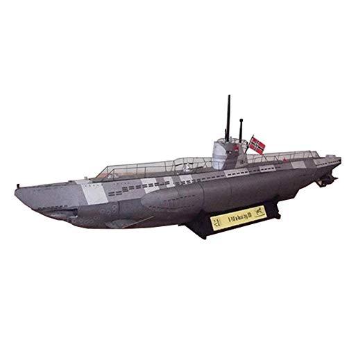 Zjcpow Papel Militar Rompecabezas Juegos de construcción, Escala 1/100 alemán Unterseeboot Submarino niños Juguetes y Regalos, 17.3Inch xuwuhz