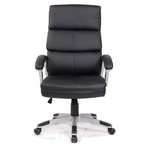 Ramroxx 37943 Chefsessel Bürostuhl Drehstuhl mit Armlehnmen Schreibtischstuhl Schwarz Chrom