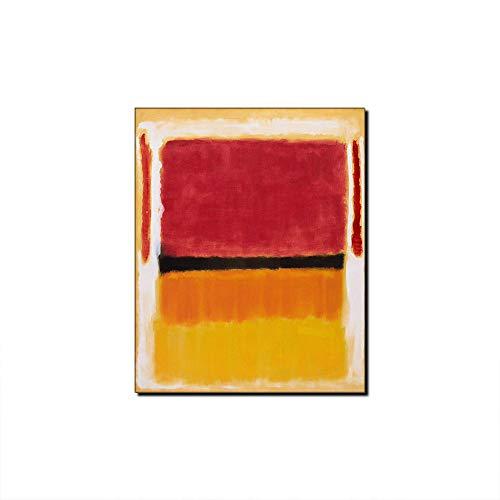 Mark Rothko - Póster decorativo para pared, diseño de cuadros en rojo y amarillo, 60 x 90 cm