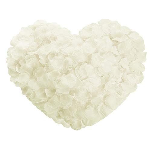 JUHONNZ Petali di Rosa,2000 PCS Petali di Fiori Finti per Matrimonio Fiori di Rose Artificiali in Seta per Natale Proposta di Matrimonio Nozze da Tavolo 2 Pollici Bianca