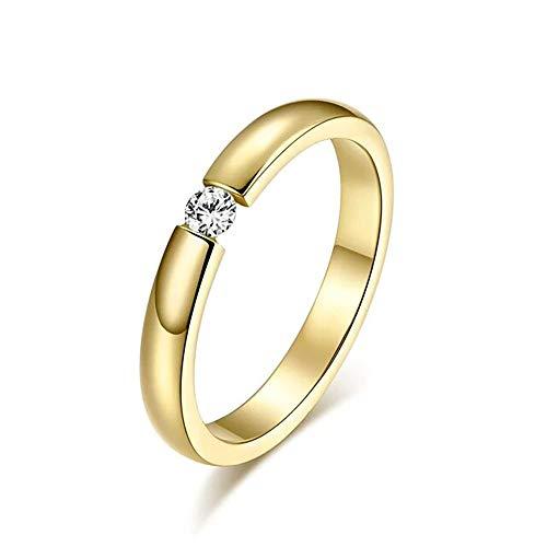 24 JOYAS Anillo Piedra de Amor. Alianza de Compromiso, Boda, Aniversario y Regalo romántico para Mujer (Chapado en Oro, 13)