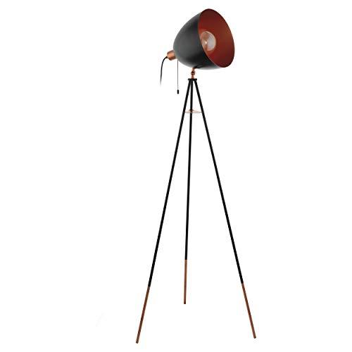 EGLO Chester Dreibein Stehlampe, 1 flammige Vintage Stehleuchte, Standleuchte aus Stahl, schwarz, kupfer, Fassung: E27, inkl. Zugschalter
